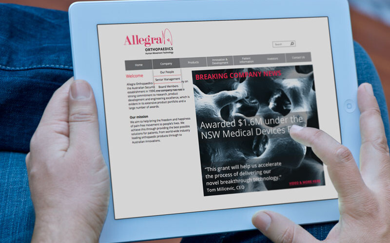 Allegra Website Home Page